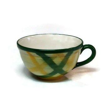 Vernonware Gingham Flat Cup,  Gingham Green Metlox Vernon Ware Pattern Cup