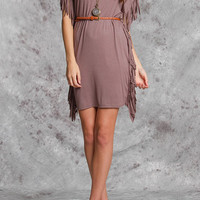 Knit Dress w/Fringe, Belt, Mocha  (Size Large)