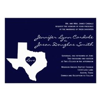 Texas Themed Navy White Wedding Invitations