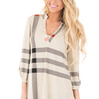 Beige Plaid Print V Neck Top