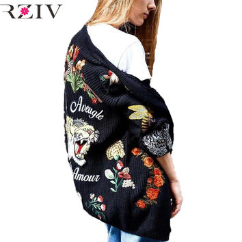 RZIV long sweater cardigan autumn 2016 female casual cardigan women sweater embroidered flowers tiger