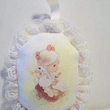 Precious Moments Mini Pillow He Watches Over Us All Ornament Home Decor Girl hugging Goose