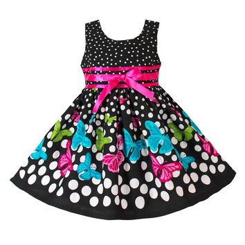 New Girls Dress Black Dot Butterfly Fashion Cotton Party Pageant Casual Kids Clothing Size 2-10
