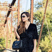 Velvet black wrap dress
