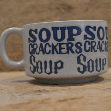 Vintage Soup Mug, Soup and Cracker Bowl ,  Made in Japan, Pop Art Letters , Soup and Crackers Stoneware Mug