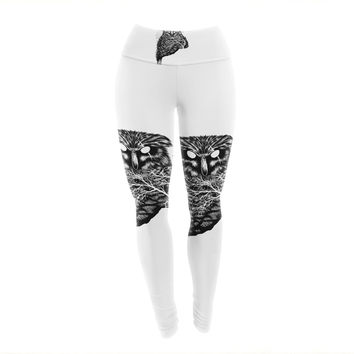 "BarmalisiRTB ""Autumn Owl"" Black White Yoga Leggings"