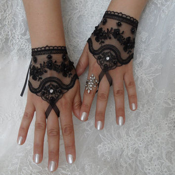 wedding glove, black wedding glove, gothic, bridal tea party accessory, bridal glove, bridesmaid gifts, FREE SHIP