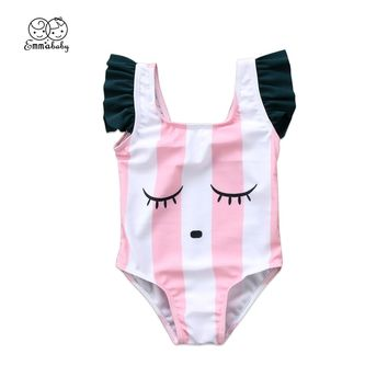 Emmababy Newborn Baby Girls Cartoon Stripes One Piece Swimwear Swimsuit Clothes Bathing Suit
