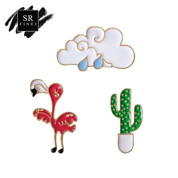 Trendy SR:FINEJ Cute Clouds Flamingo Enamel Pin Bird Cactus Alloy Brooch Pins Hat Guitar Brooch Denim Jacket Pin Badge Fashion Jewelry AT_94_13