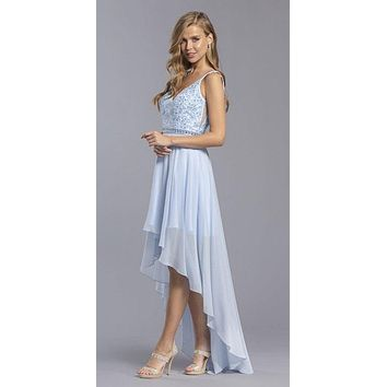 High and Low Bridesmaids Dress Appliqued Bodice Baby Blue