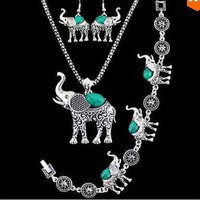 Silver Plated Turquoise Elephant Necklace, Bracelet and Earrings Jewelry Set