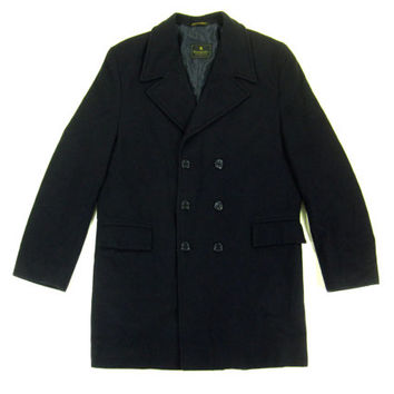 Vintage Navy Blue Pea Coat - Overcoat Peacoat Wool Winter Double Breasted Preppy Ivy League Menswear - Size 40 Medium Med M