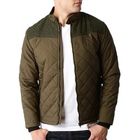 Mens Lightweight Quilted Full Zip Bomber Jacket with Elbow Patches (CLEARANCE) (CLEARANCE)