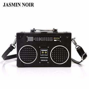 New Designer Radio Box Women Shoulder Bag Retro Vintage Female Pu Leather Messenger Bag Personality Lady Black Crossbody Bag
