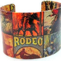 """Western Cowboy Southwest Rodeo Green Red Vintage Retro Cuff Wrap Bangle Bracelet, 8"""" Inches"""