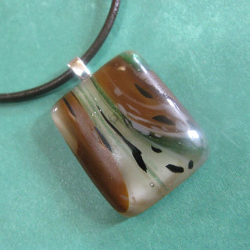 Fused Glass Necklace, Brown, Green, Ivory Jewelry - Change the World -  by mysassyglass