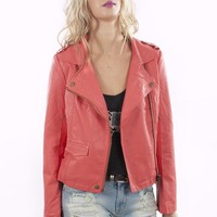 Coral Faux Leather Jacket with Zip Sleeves&Pockets