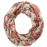 Floral Print Infinity Scarf by Charlotte Russe - Tan Combo