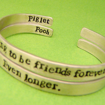 Winnie the Pooh Inspired - Are we going to be friends forever? Even Longer - A Set of 2 Double Sided Hand Stamped Aluminum Bracelets