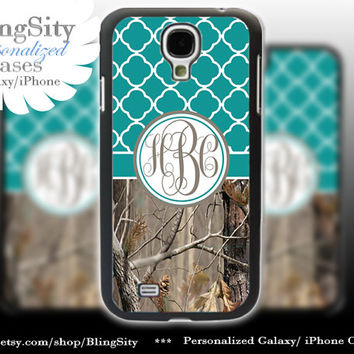 Monogram Galaxy S4 case S5 Real Tree Camo Turquoise Quatrefoil Personalized RealTree Samsung Galaxy S3 Case Note 2 3 Cover