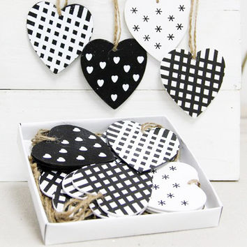 Heart Wooden Hanging Decorations Assorted Set of 24