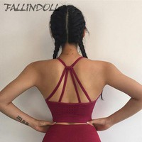 FALLINDOLL Women Gym Bra Hollow Out High Impact Yoga Bra 2018 Solid  Workout  Tops  Fitness Running Brassiere  Sport Bra