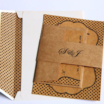 Rustic Typography Wedding Invitation - Handmade Invite and RSVP - Eco Friendly Kraft - Boho - Sample Pack - Polka Dot