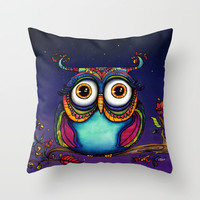 Night Owl Throw Pillow by Corso Graphics