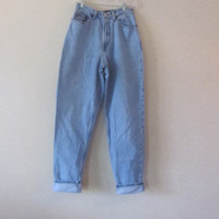 Vintage High Waisted Jeans, Gap Mom Jeans, Light Wash Denim Jeans, Womens 8 Long, Hipster High Waist 29, Grunge Denim 80s 90s