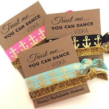 Bachelorette Hair Tie Party Favors Gold Anchor/Gold Glitter - Trust Me - Goodie Bag Survival Kit - MOH - Gifts