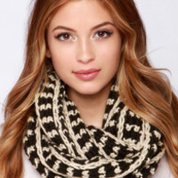 Forever and Always Beige and Black Knit Infinity Scarf