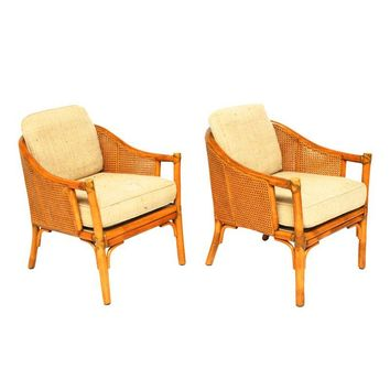 Pre-owned Vintage Designer McGuire Caned Barrel Chairs