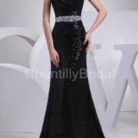 Mermaid Strapless Sweetheart-neck Chapel Train Black Sequins Lace Evening Gowns/Prom Dresses