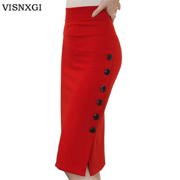 Women Pencil Skirt High Waist Knee Length Pure Color For Party Night Club Woman Wear Bodycon Single Breasted Big Size Skirt D031