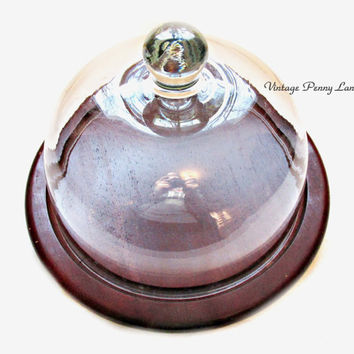 Cheese Tray Storage, Glass Dome, Wooden Base