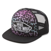 Vans Leopard Ombre Beach Girl Trucker Hat (Black/Rouge Red)