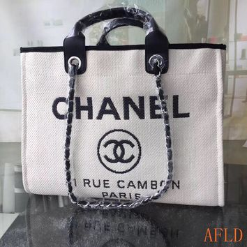 HCXX 19Aug 686 Fashion Canvas Embroidered Chain Tote Casual Large Shopper 37-30-18cm