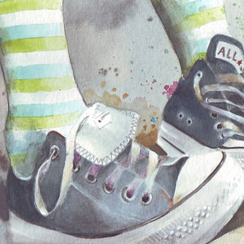 HM061 Original watercolor painting of Converse All Stars with Stripey Socks art by Helga McLeod