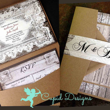 Rustic Linen French Lace Wood Vintage Western Country Pocket fold Green Teal Tiffany blue Wedding Invitation and RSVP card belly band suite.