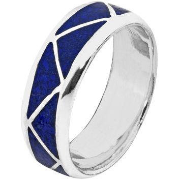 Lapis Inlay Sterling Silver Ring
