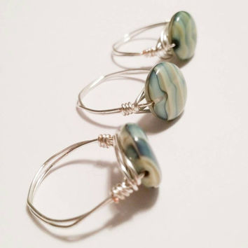 Green Blue Ring Wire Wrapped Jewelry Bead Stone Gem Striped Pattern Silver Wire