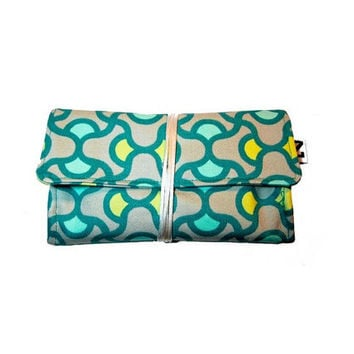 Neon aqua tobacco pouch, Heavy weight cotton, Fabric tobacco pouch, gift for her, gift for women, 70s retro style