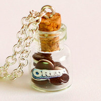 Oreo necklace miniature kawaii bottle Polymer clay jar by Zoozim