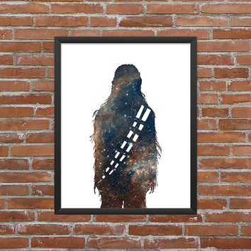 Chewbacca Poster Chewy Print Star Wars Chewy Art Chewy Outline Star Wars Art Star Wars Print Outer Space Art Galaxy Art Nebula Art Download