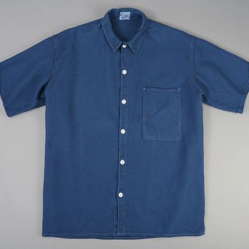 Square Tail Short Sleeve Shirt, Beekeeper's Cloth, Woad