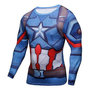3D Printed T-shirts Captain America Civil War Tee Long Sleeve Compression Shirt Cosplay Costume Fitness Clothing Tops Male