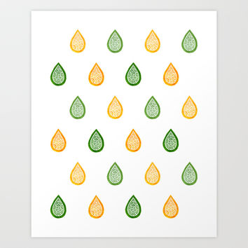 Yellow and green raindrops Art Print by Savousepate