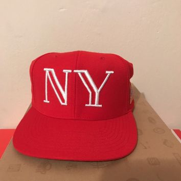 40oz Van Red NY 9/11 Snapback Camp Cap Hat New York WTC Twin Towers 9 11 40 oz