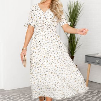 Aurora Floral Long Fit Dress | White