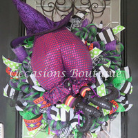 Last One!  Halloween Wreath. Witch Wreath, Wicked Witch Wreath, Fall Wreath, Halloween Decoration, Halloween Party Decor, Ready to Ship